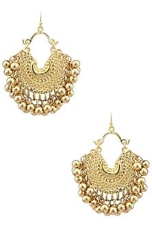 Gold Plated Small Crescent Metal Ball Earrings by Ritika Sachdeva