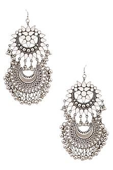 Silver Plated Double White Enamel Cutwork Crescent Motifs Earrings by Ritika Sachdeva