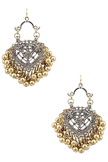 Silver Plated Embossed Mini Paan Earrings by Ritika Sachdeva