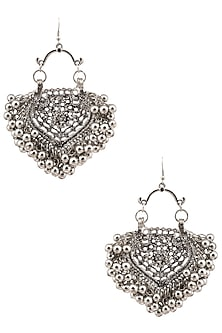 Silver Plated Embossed Mini Paan Ghunghroo Earrings by Ritika Sachdeva