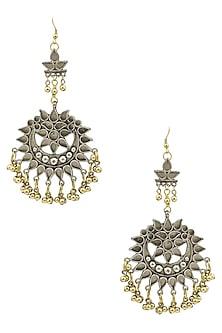 Silver Plated Cutwork Motif Gold Ghungroo Earrings by Ritika Sachdeva