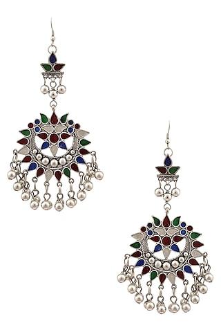 Silver Plated Meena Cutwork Earrings by Ritika Sachdeva