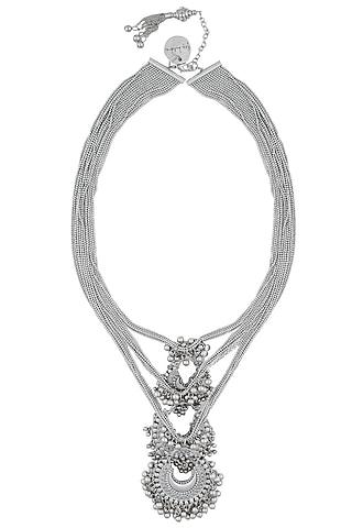 Silver Finish 3 Crescent Shaped Pendant Drop Multi Strand Necklace by Ritika Sachdeva