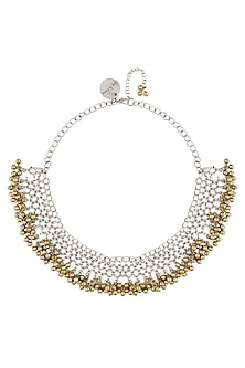 Gold And Silver Finish Ornamental Jaal Pattern Beaded Necklace by Ritika Sachdeva