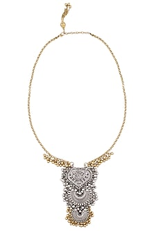 Gold And Silver Finish Paan And Crescent Shaped Layered Pendant Drop Necklace by Ritika Sachdeva