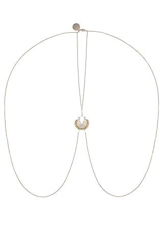 Gold And Silver Finish Crescent Shaped Pendant Drop Body Chain by Ritika Sachdeva