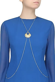 Gold Finish Crescent Shaped Pendant Drop Body Chain by Ritika Sachdeva