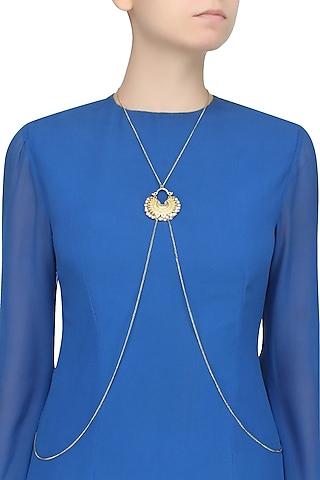 Gold Finish Crescent Shaped Pendant Drop Body Chain by Ritika Sachdeva