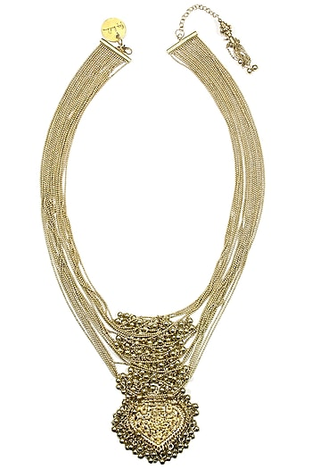 Gold crescent paan motif and pearl bunch multiple chain necklace by Ritika Sachdeva