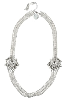 Silver plated two crescent pendant necklace by Ritika Sachdeva