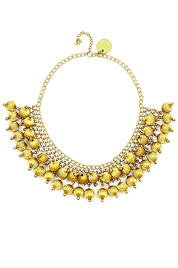 Gold plated textured bead jaal necklace by Ritika Sachdeva
