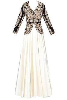 Black and Gold Zardozi Velvet Embroidered Jacket and Plain Skirt Set by Rashi Kapoor