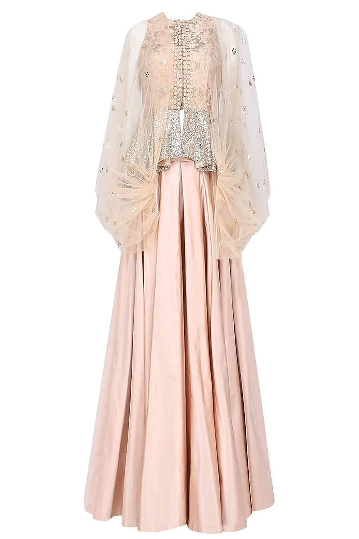 Nude Floral Work Textured Jacket and Skirt Set by Rashi Kapoor