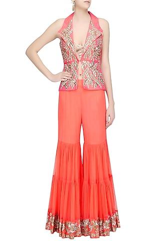 Coral and Gold Pita Embroidered Jacket and Sharara Pants Set by Rashi Kapoor