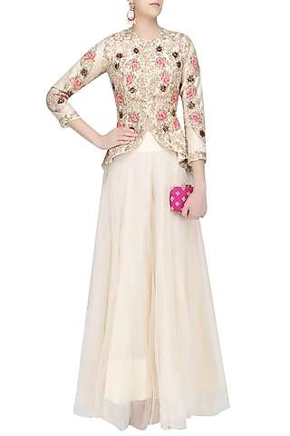 Off White Floral Embroidered Victorian Jacket and Skirt Set by Rashi Kapoor