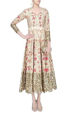 Champagne Gold Floral Zardozi and Sequins Embroidered Anarkali Kurta by Rashi Kapoor