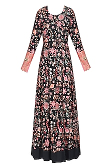 Black Floral Embroidered Floor Length Kurta by Rashi Kapoor