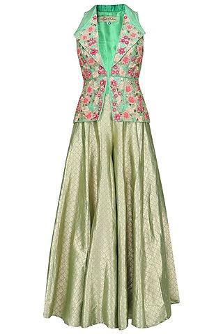 Green Floral Embroidered Jacket and Sharara Pants Set by Rashi Kapoor