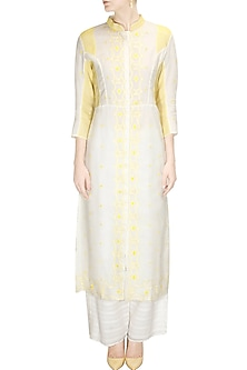 Ivory and yellow floral embroidered jacket kurta with palazzo pants by Rahul Mishra