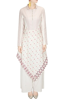 Ivory and pink floral embroidered checks print kurta with palazzo pants by Rahul Mishra
