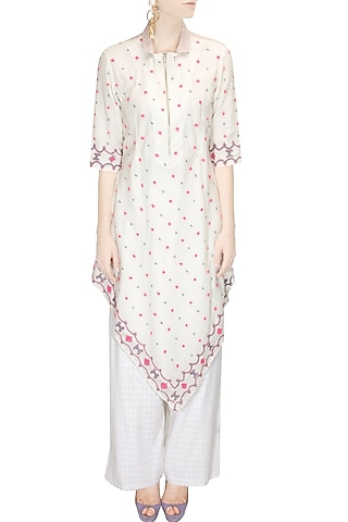 Ivory and pink floral embroidered kurta with palazzo pants by Rahul Mishra