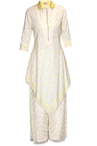 Ivory and yellow embroidered kurta with palazzo pants by Rahul Mishra
