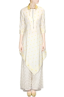 Ivory and yellow embroidered kurta with palazzo pants by Rahul Mishra
