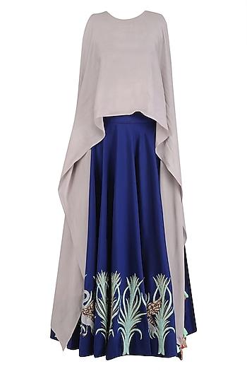 Navy Blue Circular Skirt with Grey Layered Crop Top by Rishi & Soujit