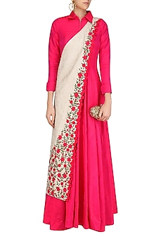 Fuschia Pink Collared Tunic with Off White Banarasi Floral Motifs Sash by Rishi & Soujit