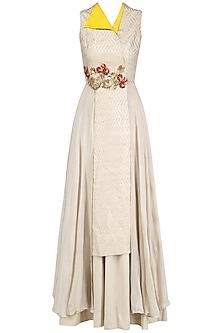 Off White Banarasi Floral Work Kurta and Skirt Set by Rishi & Soujit