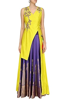 Canary Yellow Floral Embroidered Jacket with Purple Banarasi Skirt by Rishi & Soujit