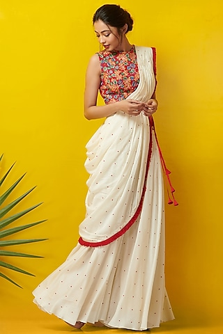 White & Red Embroidered Pant Set by Rishi & Soujit