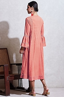 Pink Dobby Long Kurta by Ritu Kumar