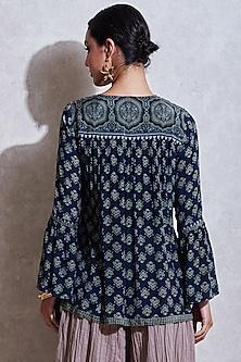 Indigo Blue & Sea Green Embroidered Kurta by Ritu Kumar