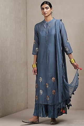 Blue Embroidered & Printed Sharara Set by Ritu Kumar