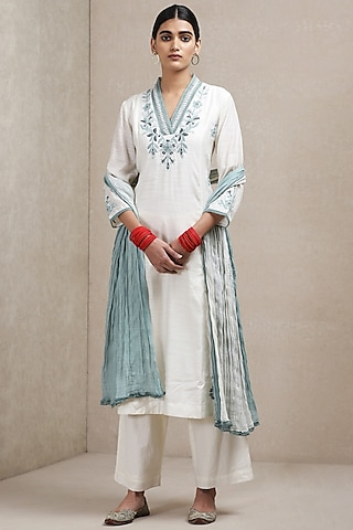 Off White Embroidered Kurta Set by Ritu Kumar