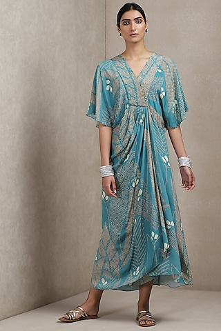 Blue Printed Dress by Ritu Kumar