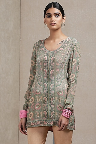 Sage Green & Pink Kurta by Ritu Kumar