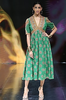 Green Embroidered & Print Dress by Ritu Kumar-RITU KUMAR