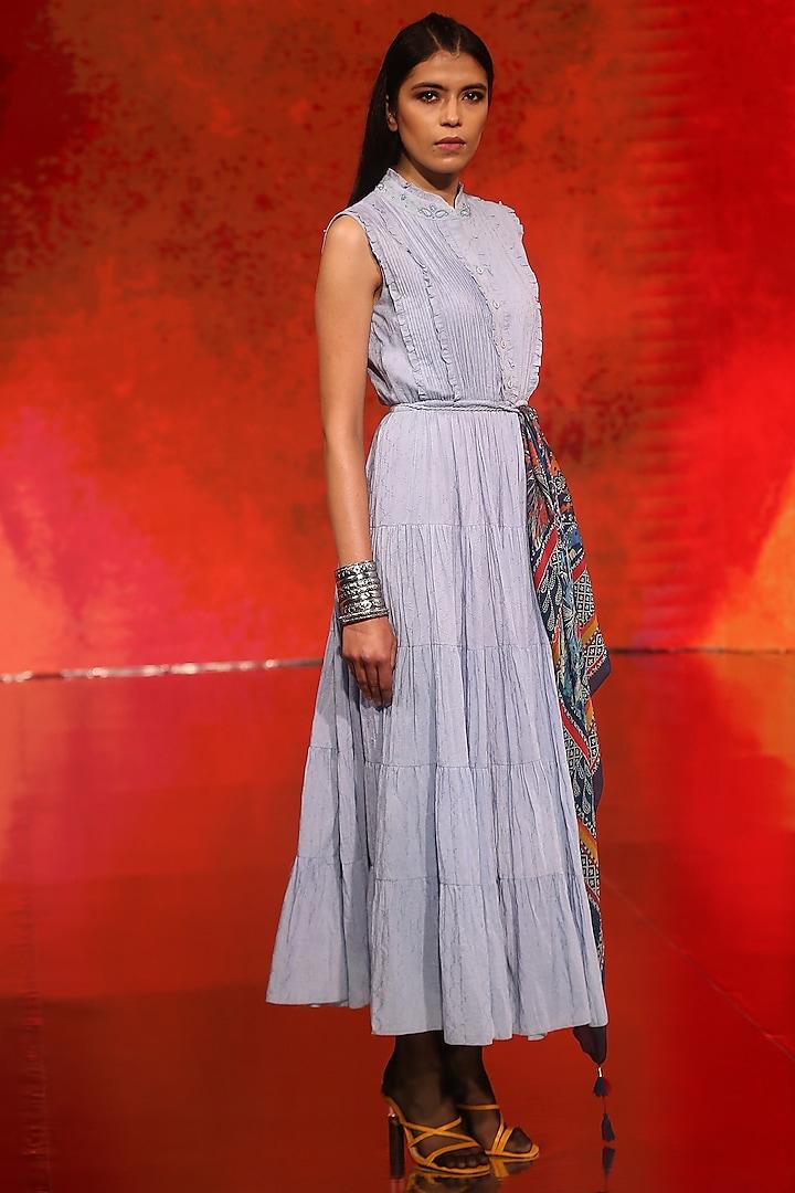 Powder Blue Self Worked Dress by Ritu Kumar