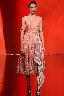 Pink Floral Printed Dress by Ritu Kumar-RITU KUMAR