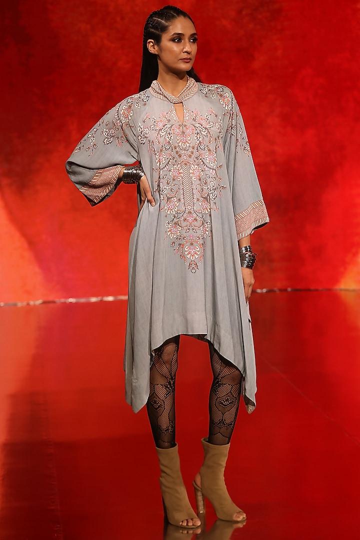Grey Floral Printed Asymmetric Dress by Ritu Kumar