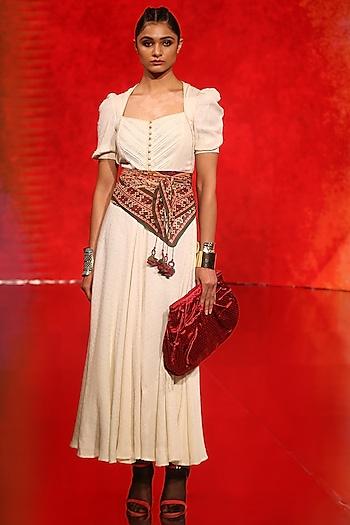 Off White Dress With Hourglass Neck by Ritu Kumar