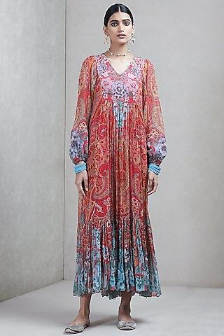 Dark Pink Printed Dress by Ritu Kumar