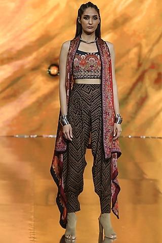 Black & Red Floral Pant Set by Ritu Kumar