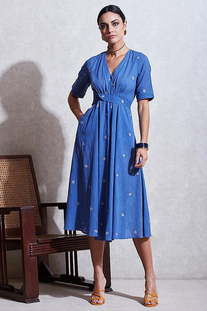 Cobalt Blue Kurta Dress With Belt by Ritu Kumar