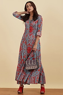 Blue & Red Printed Kurta by Ritu Kumar