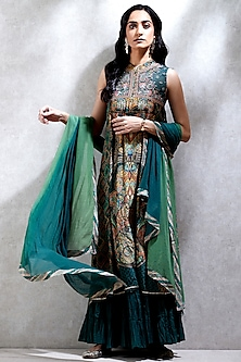 Green Printed Sharara Set by Ritu Kumar