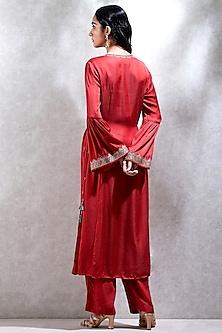 Red Embroidered Kurta Set by Ritu Kumar