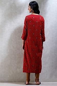 Red Printed Kurta Set by Ritu Kumar